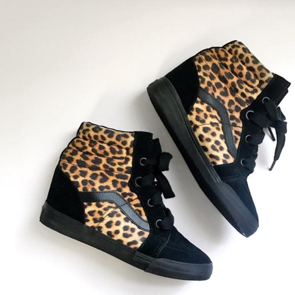 Vans Sk8-Hi Leopard Black Suede Wedge Sneakers. M 5ab9f3e23b16080f03b64278 d3eb97dbf4